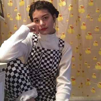 2018 New Retro Old School Hiphop Style Black White Plaid Mosaic Checkerboard Lattice Overalls Women Men Harajuku Loose Bib Pants