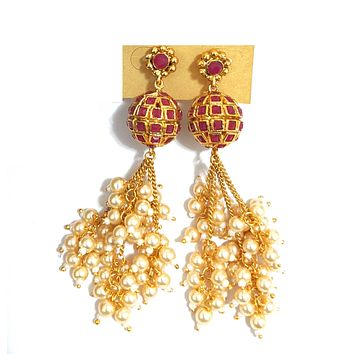 Pearl cluster bead tassel style ball shape long dangling earring