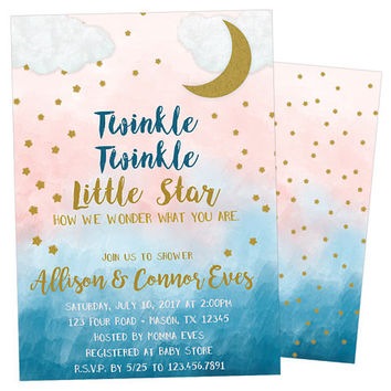 Gender Neutral Baby Shower Invitation - Twinkle Twinkle Baby Shower - Gold Baby Shower Invitations - Little Star Printed Invitations - Moon