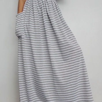 Women Maxi Long Skirt , Casual Gypsy, Bohemian , Cotton Blend In Soft gray stripe (Skirt *M3).