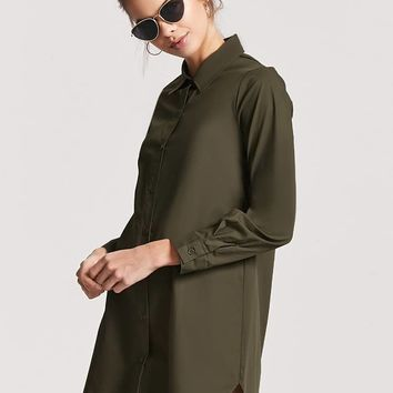 Dolphin-Hem Shirt Dress