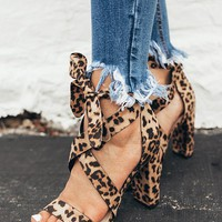 The Cleo Lace Up Heel in Leopard
