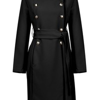 Honey Couture HARRIET Black Long Button Tie Up Coat Jacket
