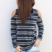 Black/Gray Stripe Cold Shoulder