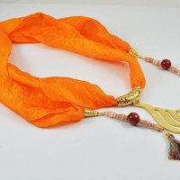 Discount 50% SILK SCARF NECKLACE, Pure orange silk scarf zinc gold plated calligraphy Allah word in Arabic character purple tassle, handmade