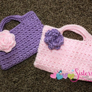 Crochet Purse For Child : ... to Order, Child Size, Little Girls, Flower Girl, Purse, Party Bag