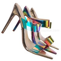 Exception08 Pointed Open Toe Perspex Clear Sandal - Rainbow Lucite Heel