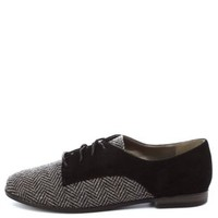 Qupid Herringbone Color Block Oxfords by Charlotte Russe - Black