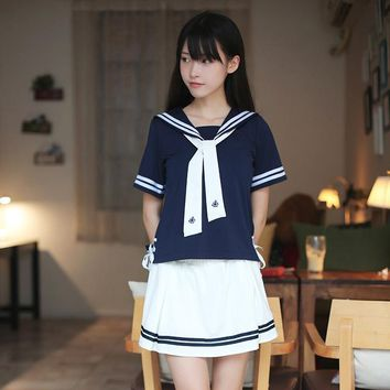 ccfc1d1c7 2017 School Uniforms Sailor Uniforms Short-Sleeved T-shirt +Skirt Piece  Fitted Sexy