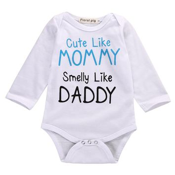 Cute Like Mommy Smile Like Daddy Infant Baby Onesuit Bodysuit