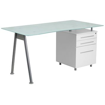 Glass Computer Desk with Three Drawer Pedestal