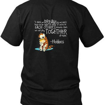 Calvin And Hobbes Dreams Quote 2 Sided Black Mens T Shirt