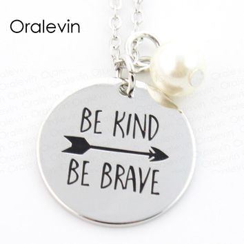 BE KIND BE BRAVE Inspired Motivational Pendant Arrows Charms Necklace Sold By GO FIND YOURSELF