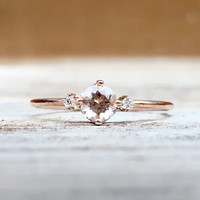 14K Morganite Diamond Ring, 14K Rose Gold, Solid Gold, Engagement Ring, Promise Ring, Pink Stone, Dainty Ring