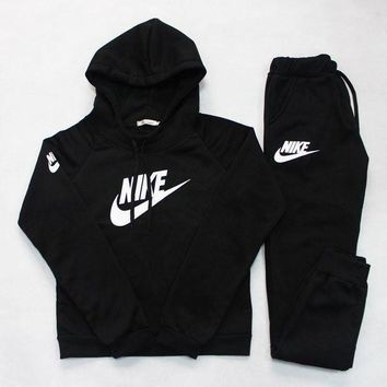 NIKE Stylish Women Trending Fashion Casual Letter Print Hoodie Long Sleeve Top Sweater Pants Sweatpants Set Two-Piece Sportswear Blue G