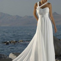 Halter Straps Handmade Flower Chiffon Beach White Ivory Wedding Dresses