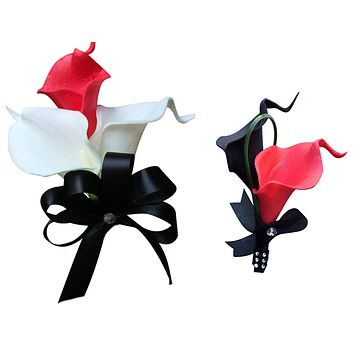 Set: Red and Black Real Touch Calla Lily Wrist Corsage & Boutonniere