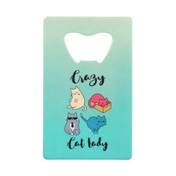 Cute Animal Collage Folk Art Design Personalized Credit Card Bottle Opener
