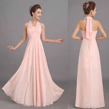 New Halter Soft Pink Long Chiffon Bridesmaid Dresses Cheap Wedding Party Prom Dress Plus size Customize Large Lace Up De Honra