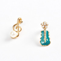 Guitar and Note Earrings Fashion Blue Pearl Jewelry