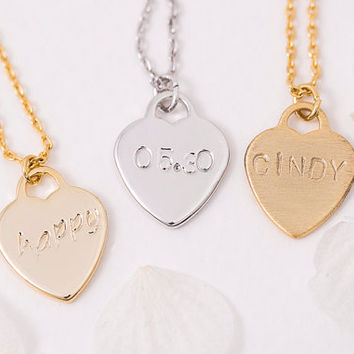 Hand Stamped Heart Necklace Personalized Heart Necklace, Birth Date Name Initial Roman Numeral, Gift for Her, Brass LUVINMARK LVMKH1
