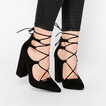 New Look | New Look Suedette Lace Up Block Heel at ASOS