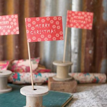 Set Of 12 Merry Christmas Flags