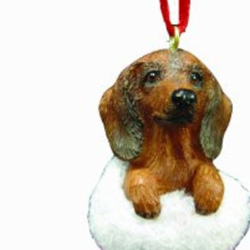 "Dachshund Christmas Stocking Ornament with ""Santa's Little Pals"" Hand Painted and Stitched Detail"