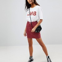 ASOS Denim Skirt With Waist Seam Detail in Raspberry at asos.com