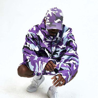 Purple Multi Camo Oversize Windbreaker Anorak Jacket