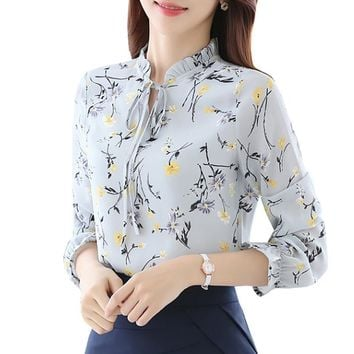 Women's  Chiffon Long Sleeved Floral Shirt Top With Ruffled Collar