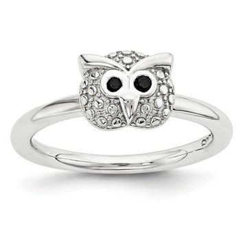 Sterling Silver Stackable Expressions Onyx Owl Ring