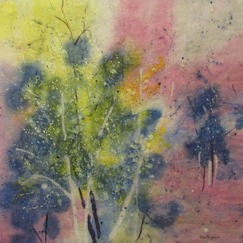 Abstract landscape painting rose colored forest original impressionist watercolor batik on rice paper distressed look 16x16 OOAK  McKinzie
