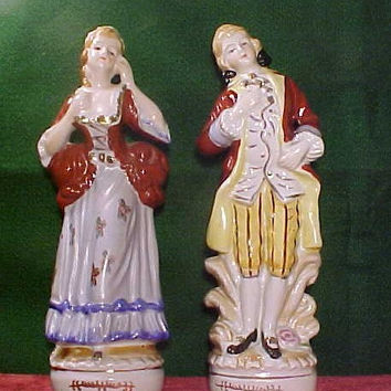 Made in Occupied Japan  Colonial Figurines Circa 1945 Hand Painted
