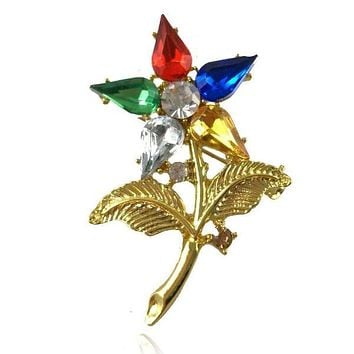 OES The Order of The Eastern Star Brooch Rhinestone Lapel pin