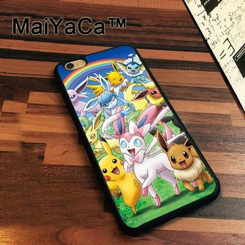 MaiYaCa s Go Pocket Monsters Soft TPU Phone Cases For Apple iphone 7 Case 4.7'' Cover For iphone 7 Back BagKawaii Pokemon go  AT_89_9