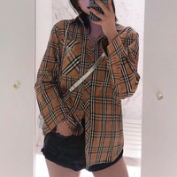 """Burberry"" Women All-match Classic Multicolor Tartan Letter Embroidery Long Sleeve Lapel Shirt Casual Cardigan Tops"