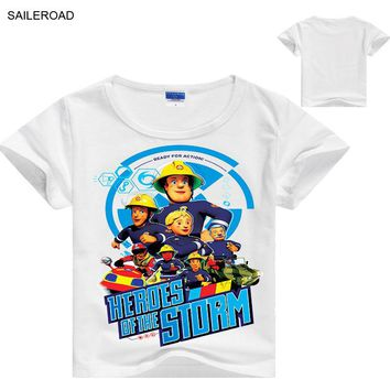 SAILEROAD 2 To 8Years Cartoon Boys Shorts T Shirt New Summer Cotton Children Kids Boys Tops Tees Shirts Baby Clothes