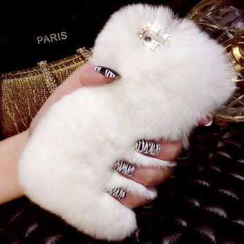 Handmade Bling Crystal Rhinestone Design Fluffy Soft Genuine Rabbit Fur Winter Warm Case for iPhone 7 se 5s 6 6s Plus +Bift box