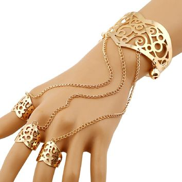 Gold/Silver Hollow Open Cuff Bracelets Bangles for Women