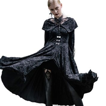 Steampunk Long Printted Robe Autumn Winter Women's Windbreaker Gothic Palace Trench Coat Big Sizes Cloak For Women Outwear