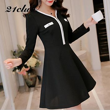 2017 autumn decoration black sundress work temperament womens self-cultivation dresses ladies cute clothing waist work dress
