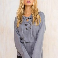 Fashion Loose Sweater Long Sleeve Thick Lace Up Knitted Sweater