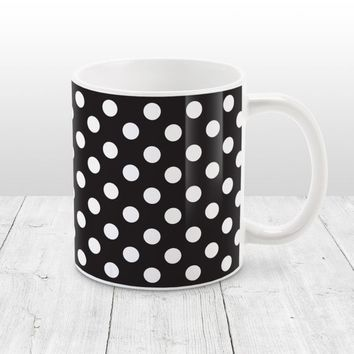 Black and White Polka Dot Mug - Stylish White Black Polka Dot Pattern, Black Mug - 11oz or 15oz - Made to Order