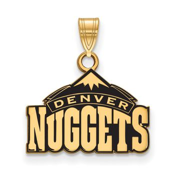 NBA 14k Yellow Gold Plated Silver Denver Nuggets SM Logo Pendant