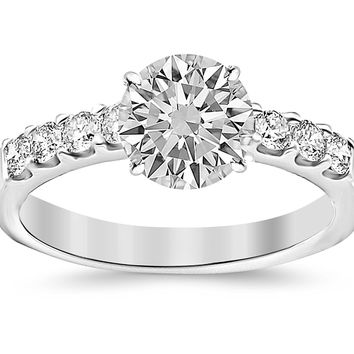 CERTIFIED | 3 Carat Classic Prong Set Diamond Engagement Ring 14K White Gold with a 2 Carat Round Cut Moissanite (Heirloom Quality) (Platinum, Yellow, White, Rose)
