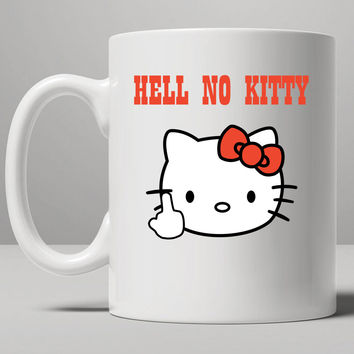 Hell No Kitty - Hello Kitty Parody Mug, Tea Mug, Coffee Mug
