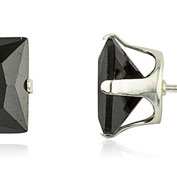 925 Sterling Silver with Black Square Cubic Zirconia Four Prong Stud Earrings (8 Millimeters)