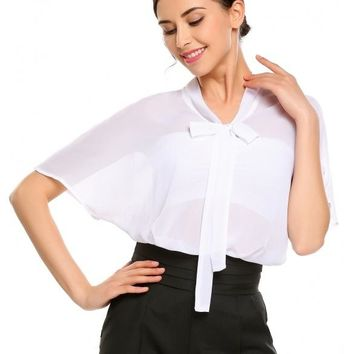 White Bow Tie Bat-Wing Sleeve Solid Loose Fit Blouse