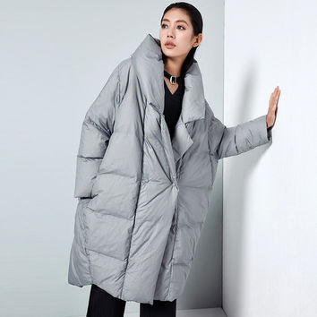 BC043 New Arrival 2016 loose casual fashion notched collar winter coat women oversized cocoon long white duck down jacket thick